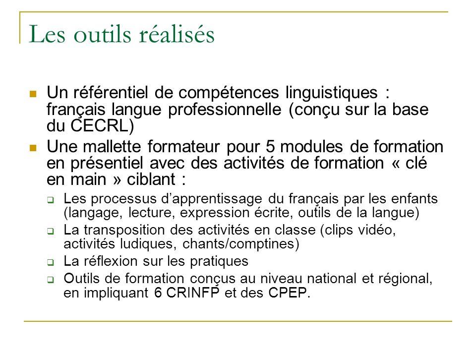 Les outils réalisés Un référentiel de compétences linguistiques : français langue professionnelle (conçu sur la base du CECRL)