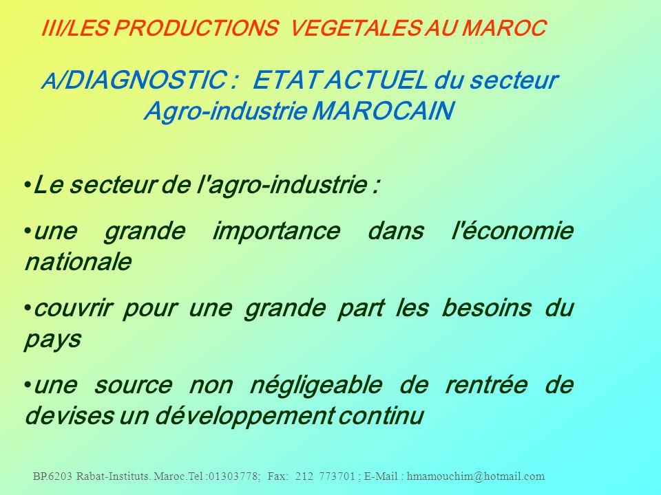 Le secteur de l agro-industrie :