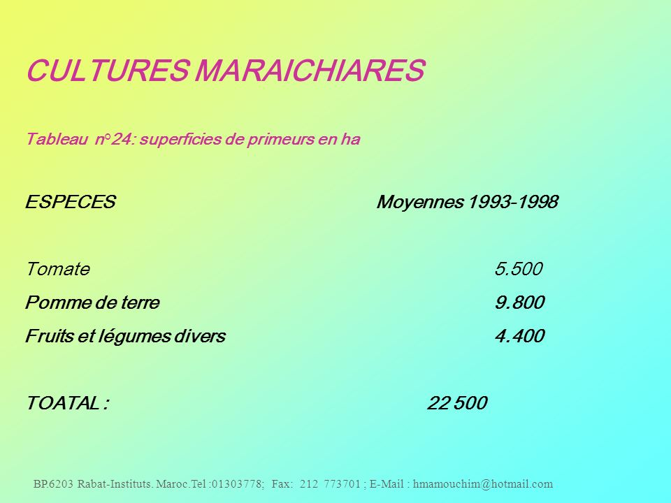 CULTURES MARAICHIARES