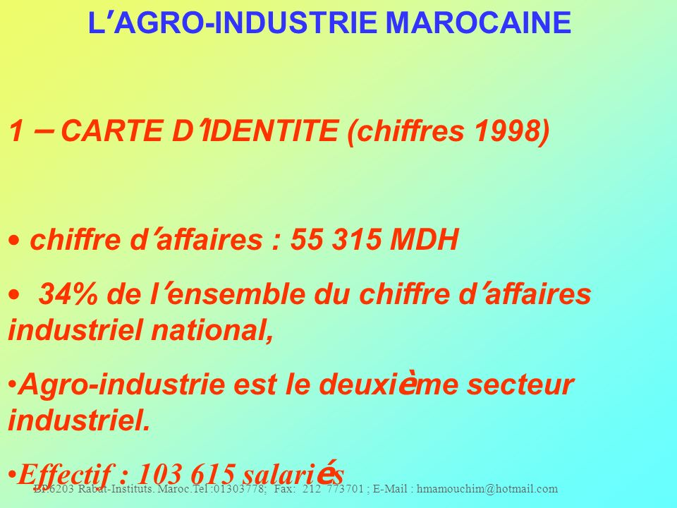 L'AGRO-INDUSTRIE MAROCAINE