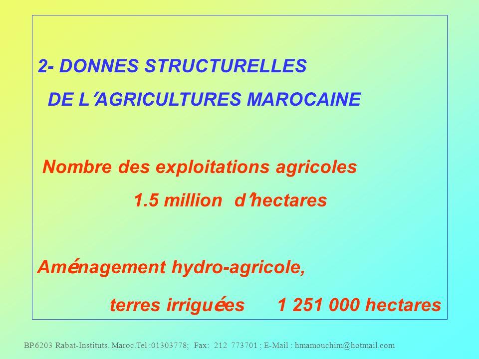 2- DONNES STRUCTURELLES DE L'AGRICULTURES MAROCAINE