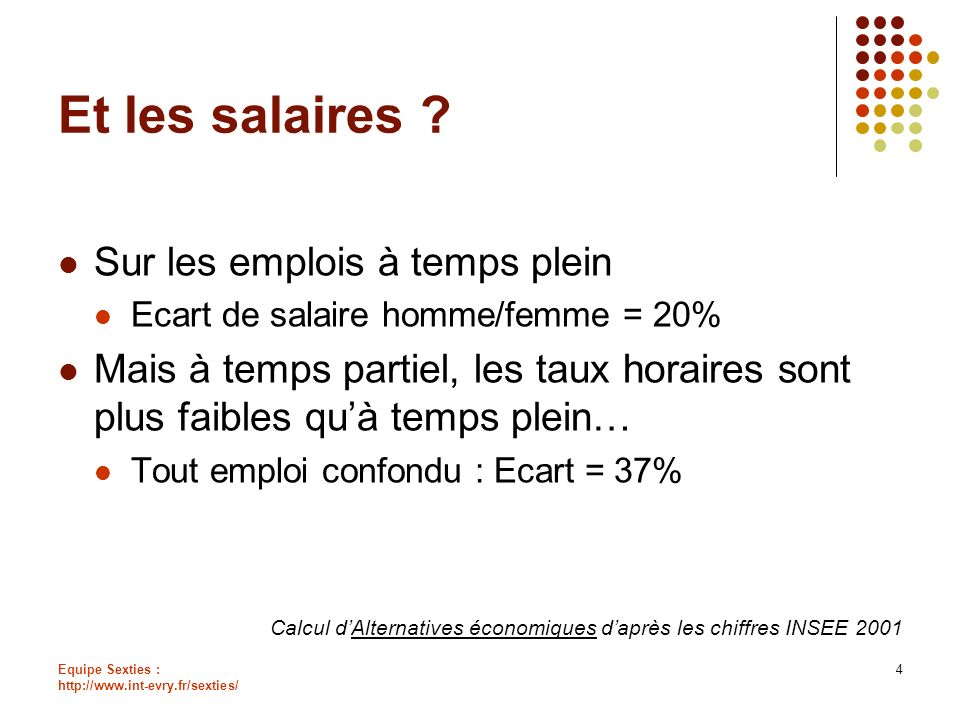 Et les salaires Sur les emplois à temps plein