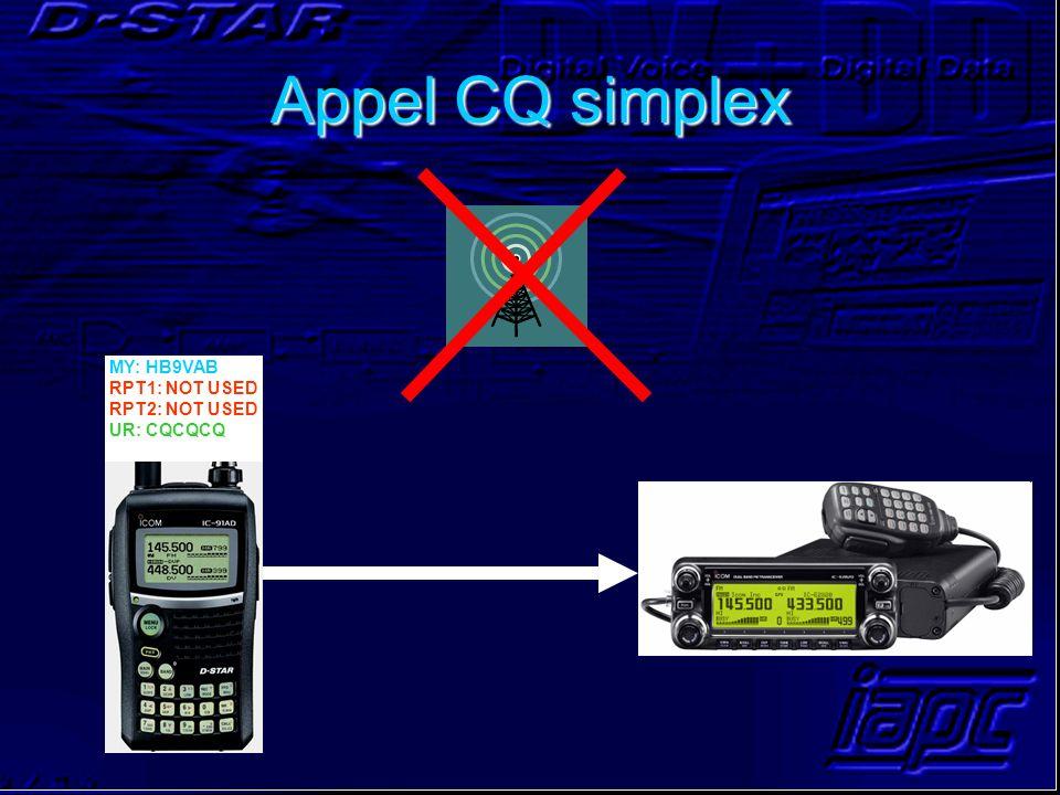 Appel CQ simplex MY: HB9VAB RPT1: NOT USED RPT2: NOT USED UR: CQCQCQ