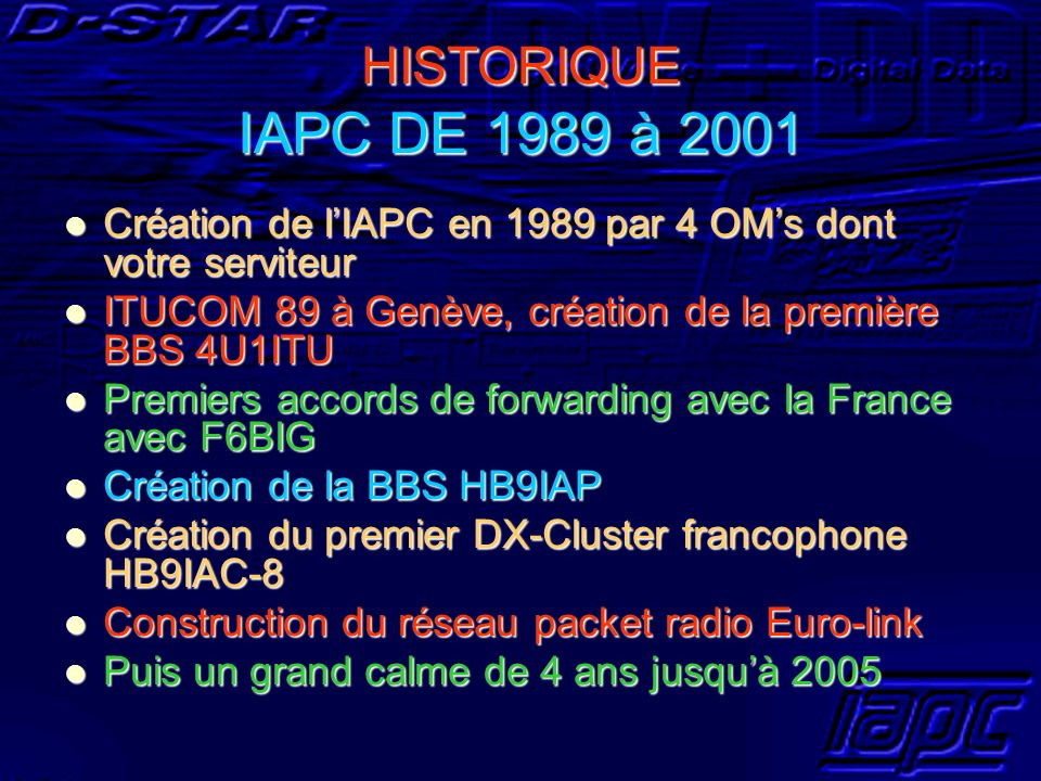 HISTORIQUE IAPC DE 1989 à 2001 Création de l'IAPC en 1989 par 4 OM's dont votre serviteur. ITUCOM 89 à Genève, création de la première BBS 4U1ITU.
