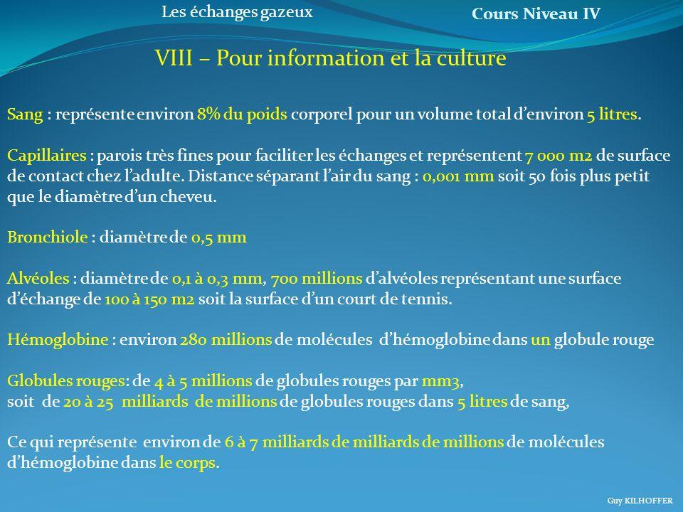 VIII – Pour information et la culture