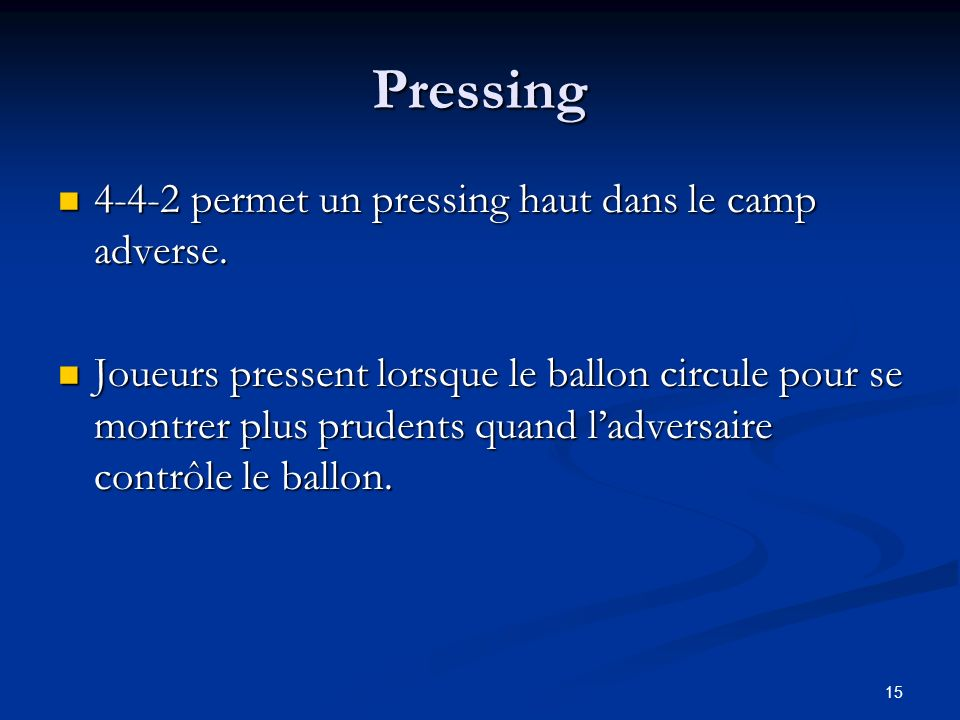 Pressing 4-4-2 permet un pressing haut dans le camp adverse.