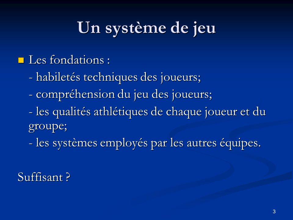 Un système de jeu Les fondations : - habiletés techniques des joueurs;