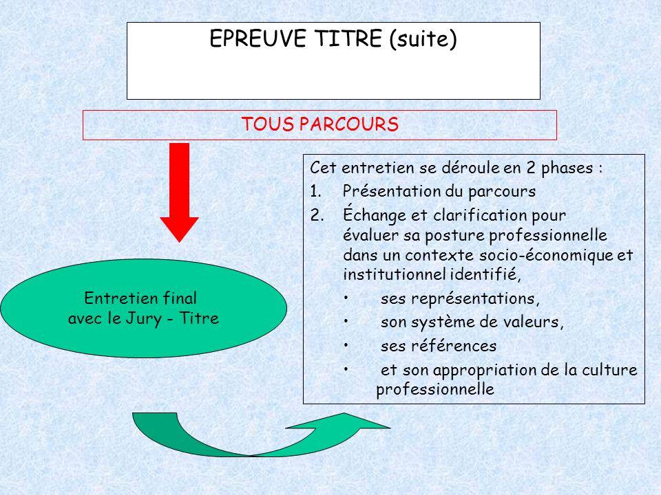 EPREUVE TITRE (suite) TOUS PARCOURS