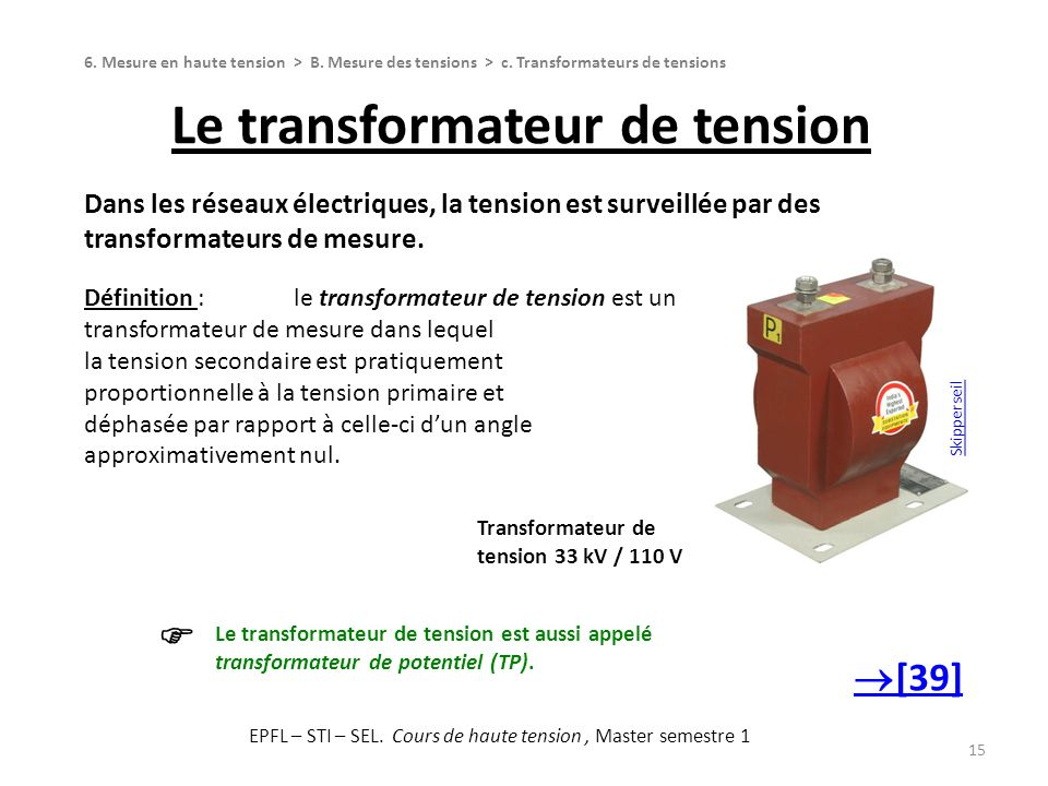 Le transformateur de tension