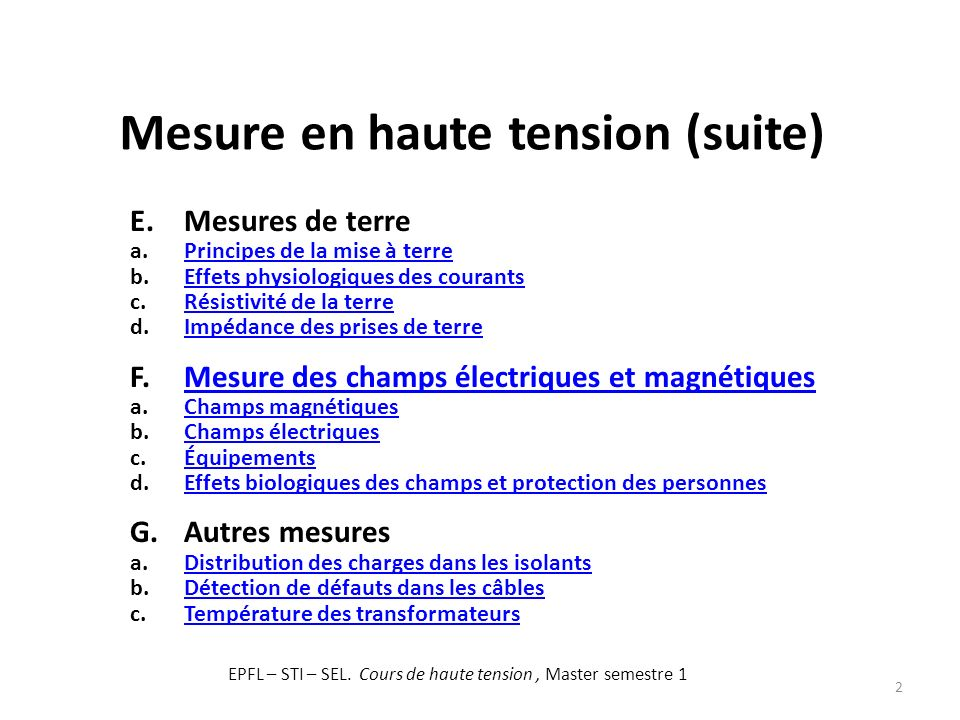 Mesure en haute tension (suite)