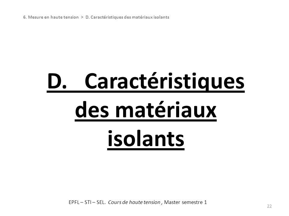 D. Caractéristiques des matériaux isolants