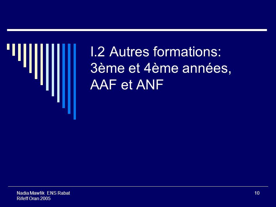 I.2 Autres formations: 3ème et 4ème années, AAF et ANF
