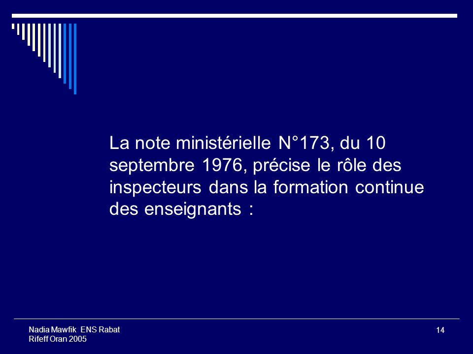 La note ministérielle N°173, du 10 septembre 1976, précise le rôle des inspecteurs dans la formation continue des enseignants :