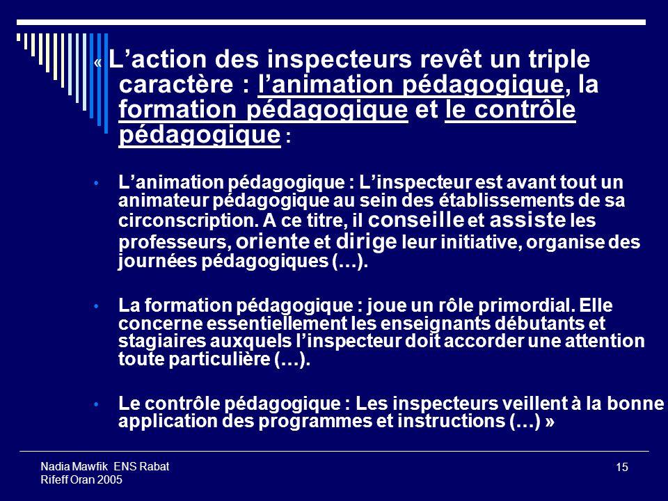 « L'action des inspecteurs revêt un triple caractère : l'animation pédagogique, la formation pédagogique et le contrôle pédagogique :