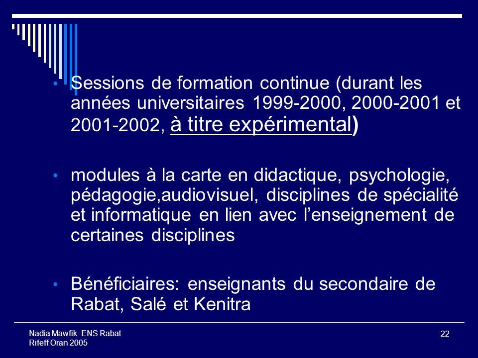 Bénéficiaires: enseignants du secondaire de Rabat, Salé et Kenitra