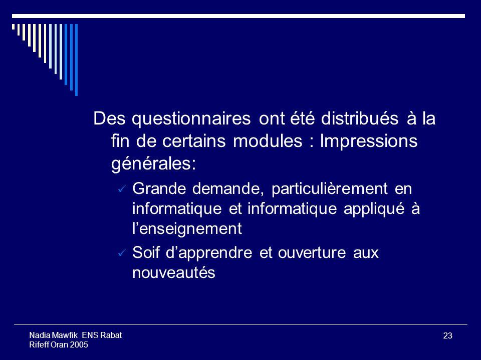 Des questionnaires ont été distribués à la fin de certains modules : Impressions générales: