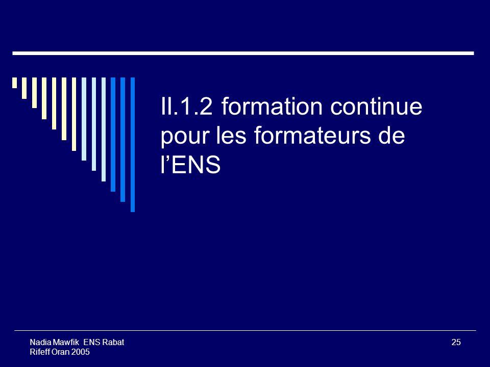 II.1.2 formation continue pour les formateurs de l'ENS