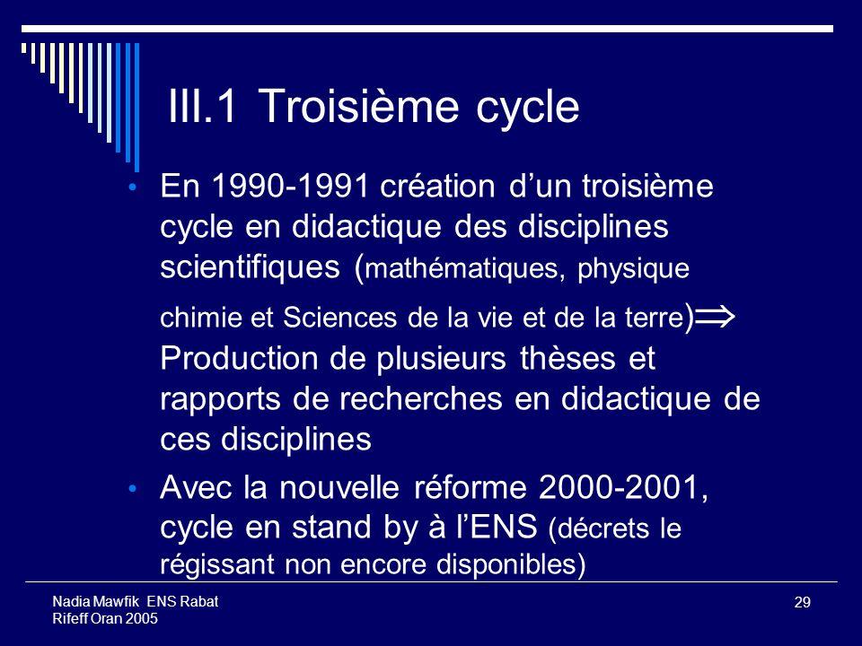 III.1 Troisième cycle