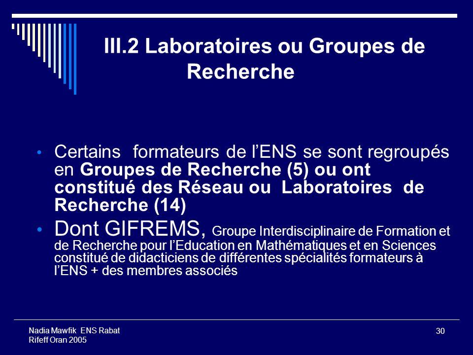 III.2 Laboratoires ou Groupes de Recherche