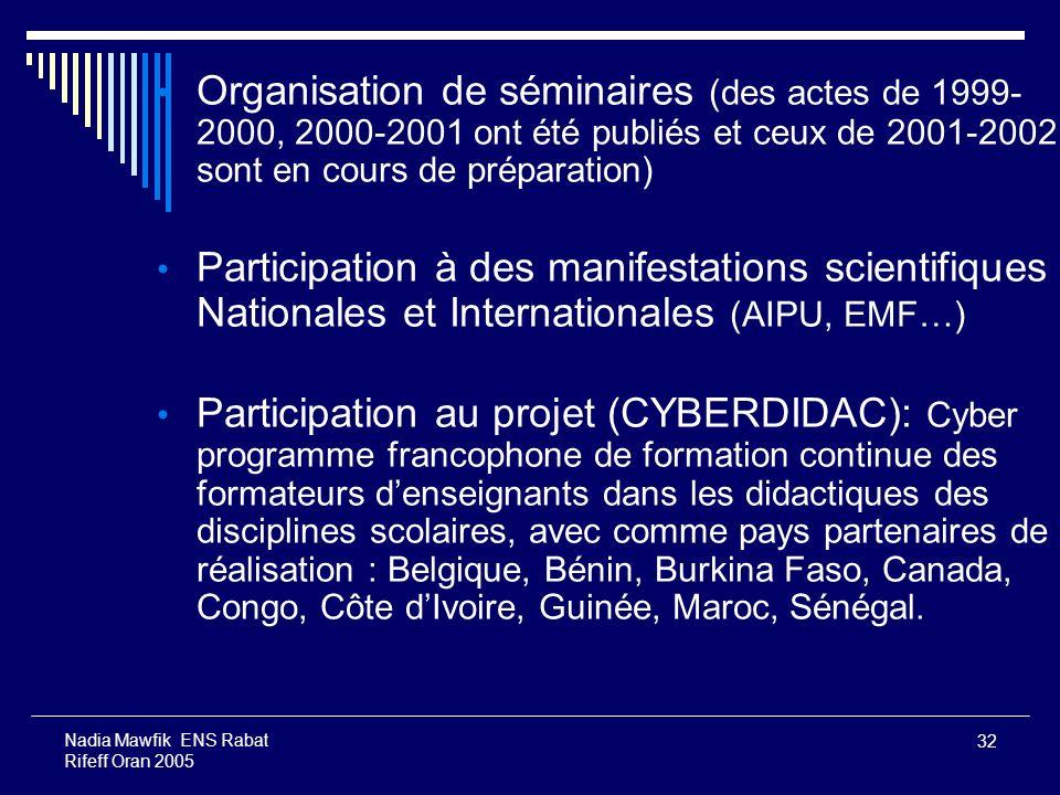 Organisation de séminaires (des actes de 1999-2000, 2000-2001 ont été publiés et ceux de 2001-2002 sont en cours de préparation)