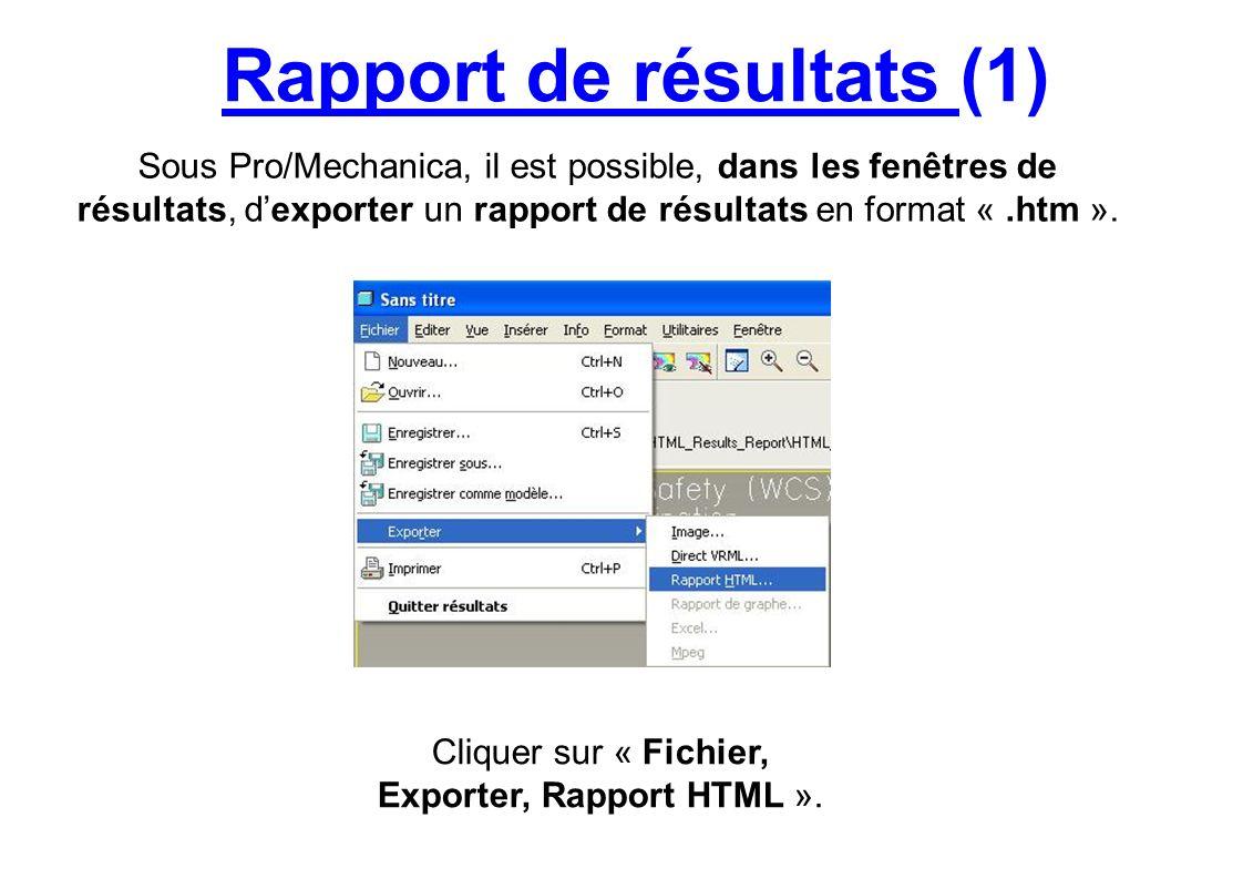 Rapport de résultats (1)