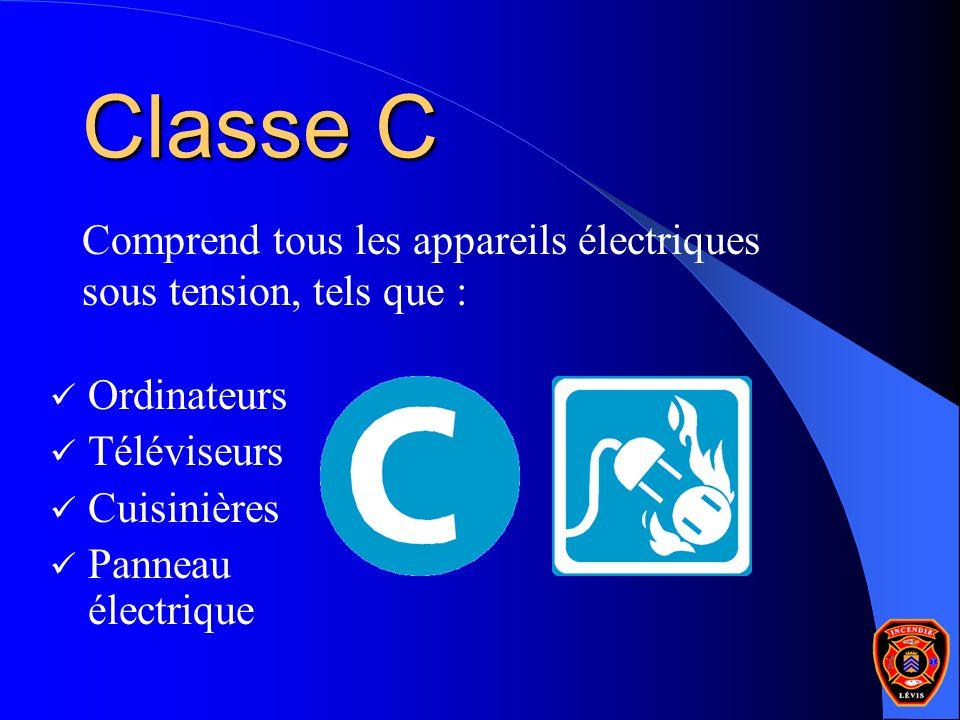 Classe C Comprend tous les appareils électriques sous tension, tels que : Ordinateurs. Téléviseurs.