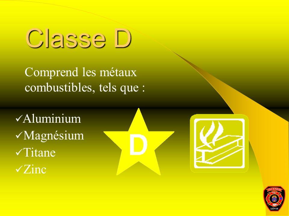 Classe D Comprend les métaux combustibles, tels que : Aluminium