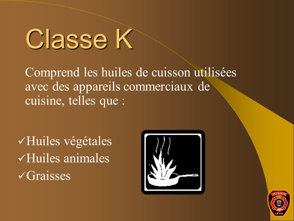 Classe K Comprend les huiles de cuisson utilisées avec des appareils commerciaux de cuisine, telles que :