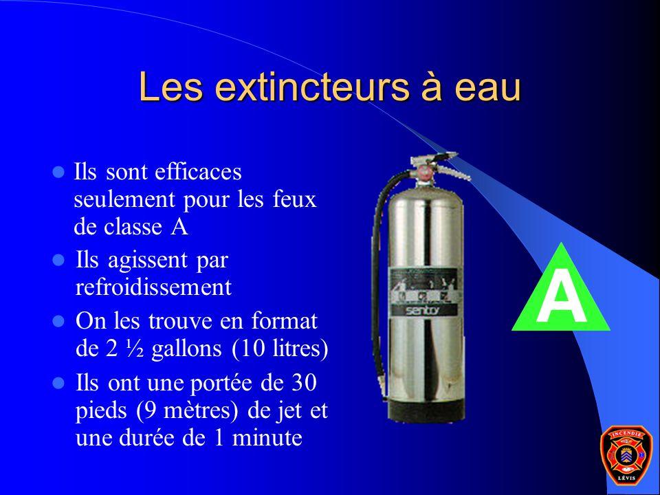 Les extincteurs à eau Ils sont efficaces seulement pour les feux de classe A. Ils agissent par refroidissement.