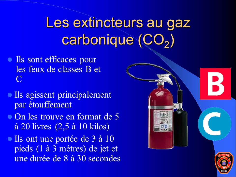 Les extincteurs au gaz carbonique (CO2)