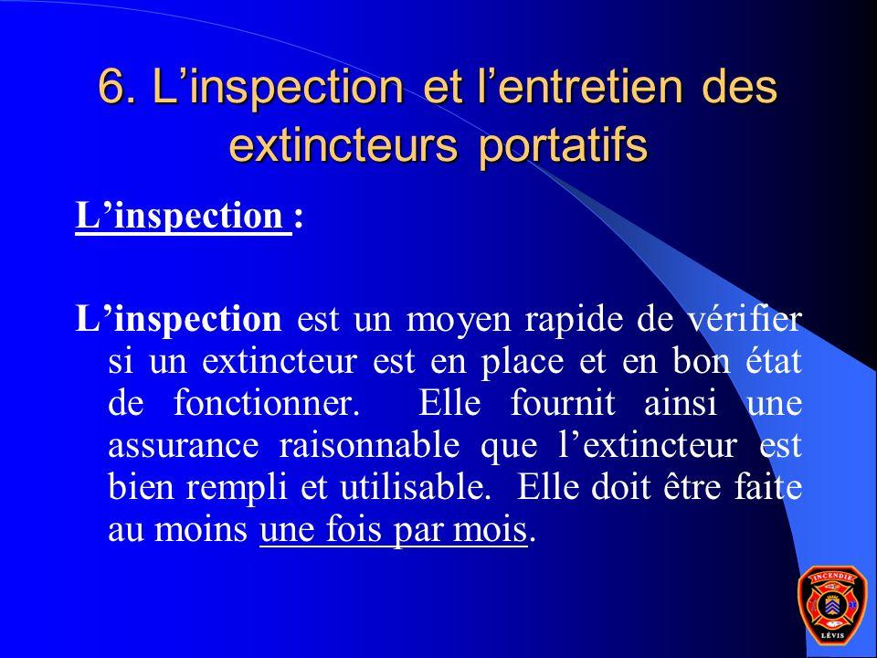 6. L'inspection et l'entretien des extincteurs portatifs