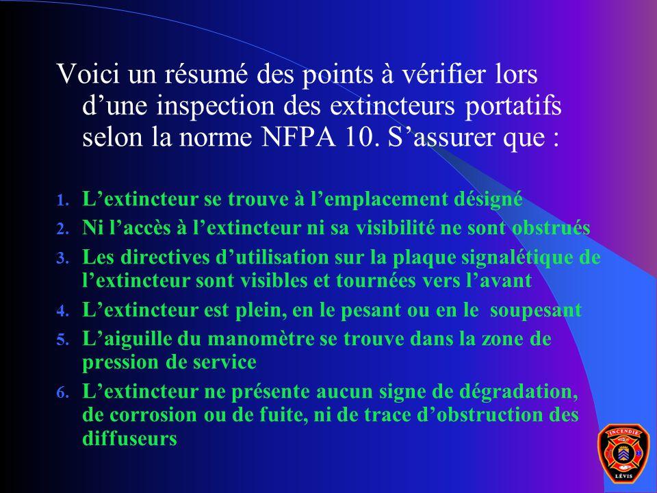 Voici un résumé des points à vérifier lors d'une inspection des extincteurs portatifs selon la norme NFPA 10. S'assurer que :
