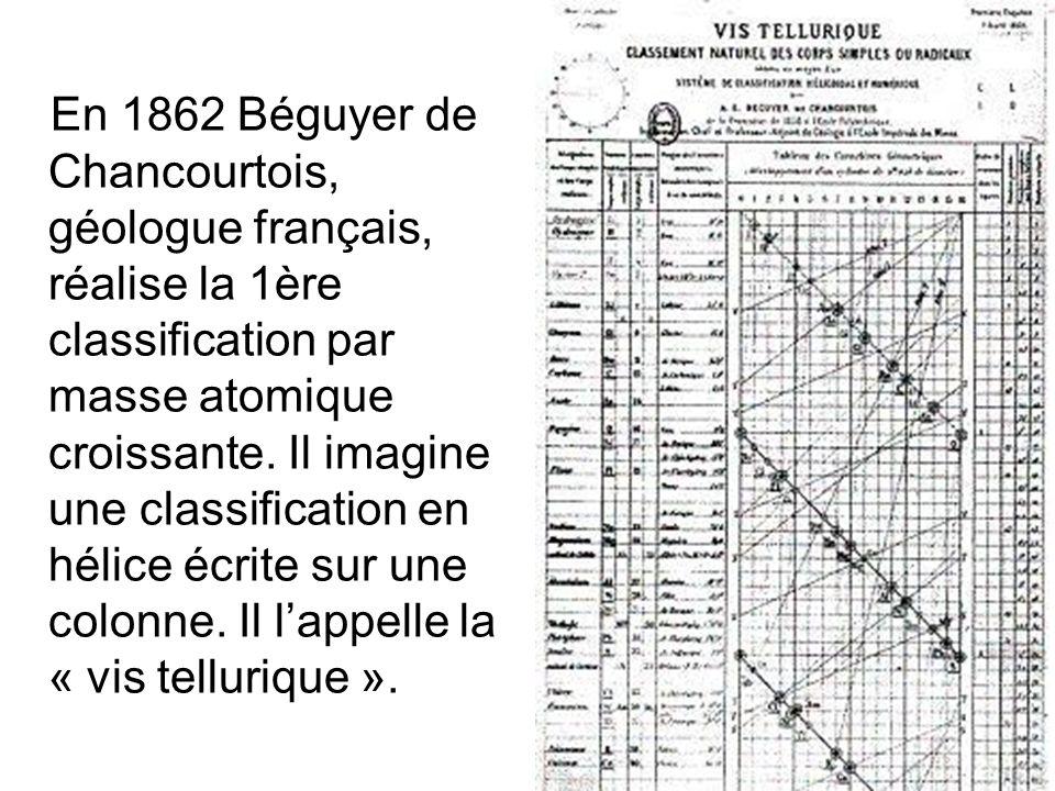 En 1862 Béguyer de Chancourtois, géologue français, réalise la 1ère classification par masse atomique croissante.