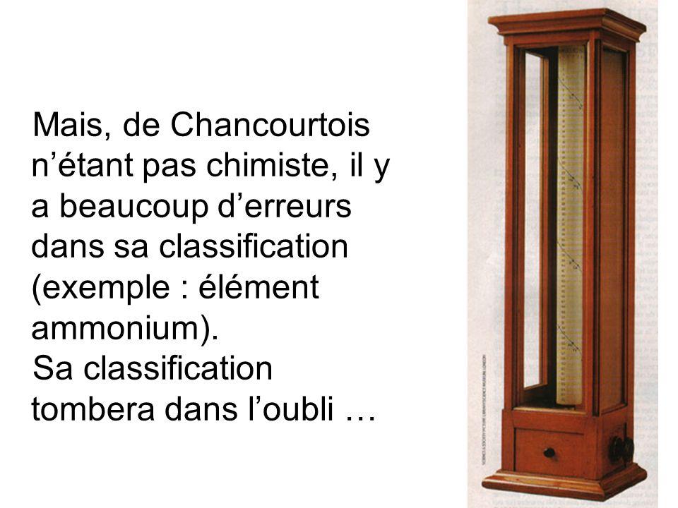 Mais, de Chancourtois n'étant pas chimiste, il y a beaucoup d'erreurs dans sa classification (exemple : élément ammonium).