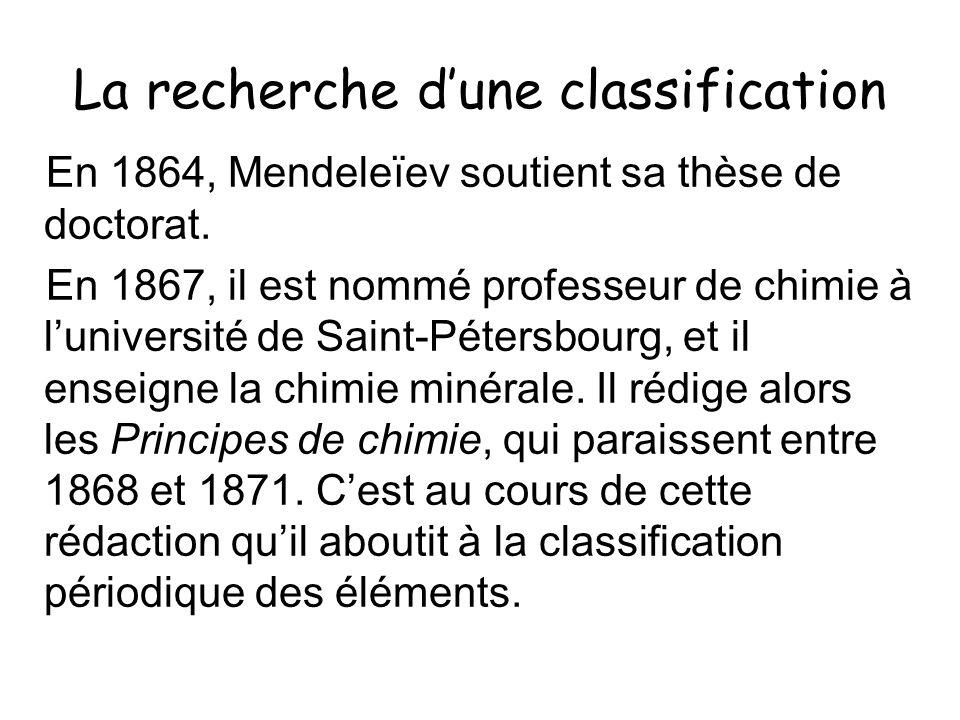 La recherche d'une classification