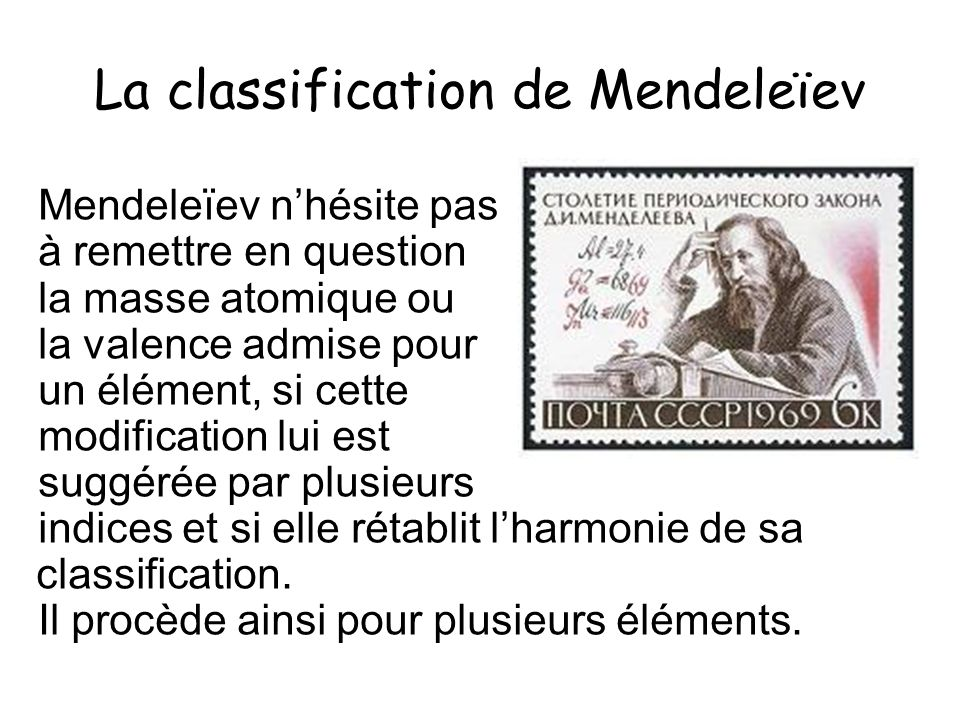 La classification de Mendeleïev