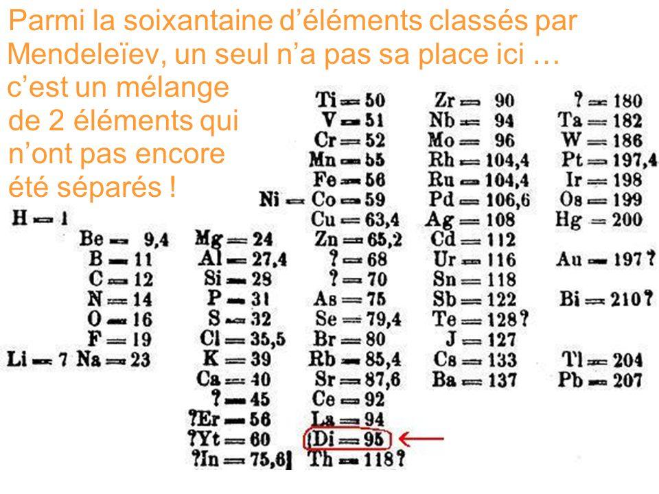 Parmi la soixantaine d'éléments classés par Mendeleïev, un seul n'a pas sa place ici … c'est un mélange