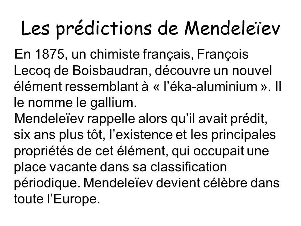 Les prédictions de Mendeleïev