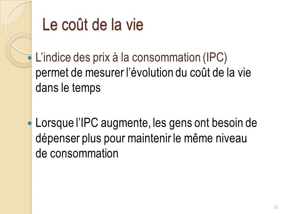 Le coût de la vie L'indice des prix à la consommation (IPC) permet de mesurer l'évolution du coût de la vie dans le temps.