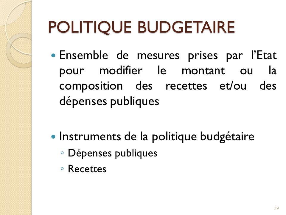 POLITIQUE BUDGETAIRE Ensemble de mesures prises par l'Etat pour modifier le montant ou la composition des recettes et/ou des dépenses publiques.