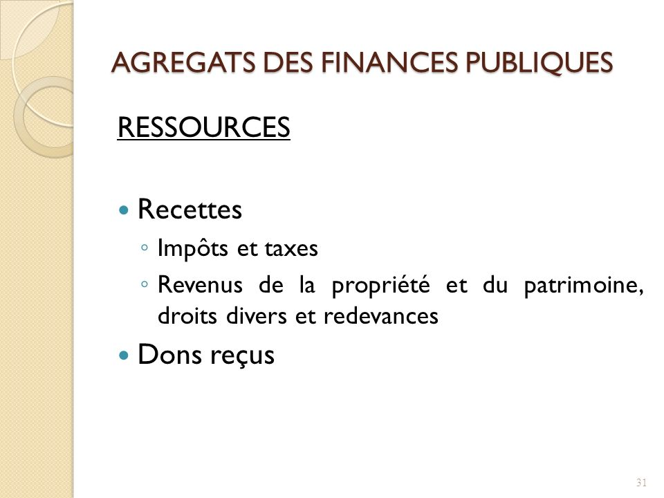 AGREGATS DES FINANCES PUBLIQUES