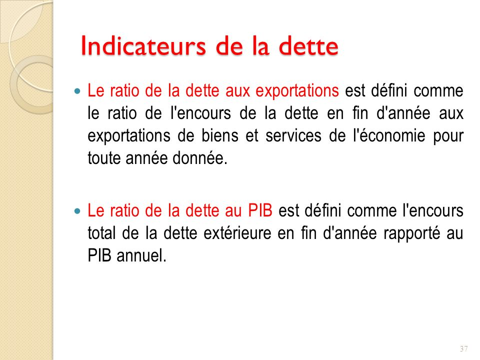 Indicateurs de la dette