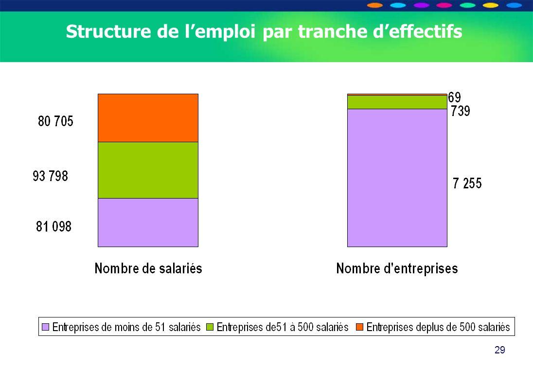 Structure de l'emploi par tranche d'effectifs