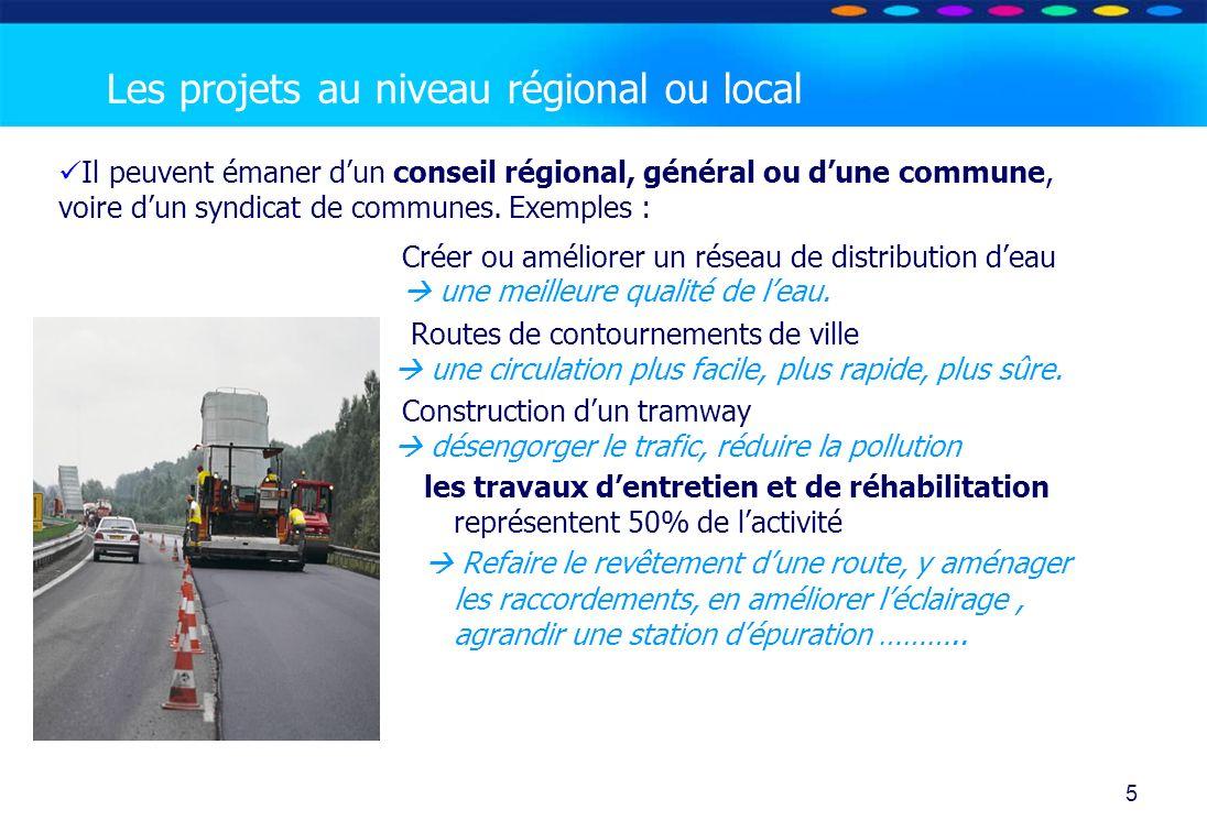 Les projets au niveau régional ou local