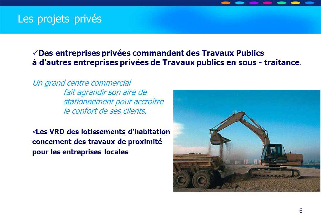 Les projets privés Des entreprises privées commandent des Travaux Publics à d'autres entreprises privées de Travaux publics en sous - traitance.
