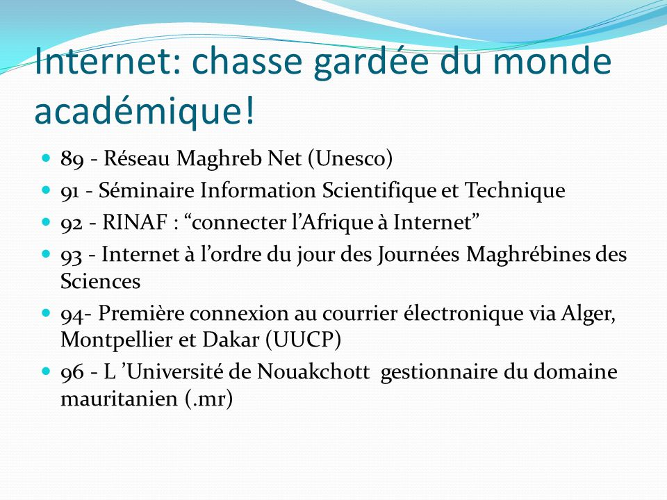 Internet: chasse gardée du monde académique!