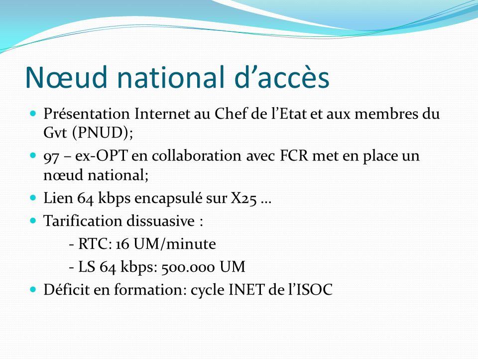 Nœud national d'accès Présentation Internet au Chef de l'Etat et aux membres du Gvt (PNUD);