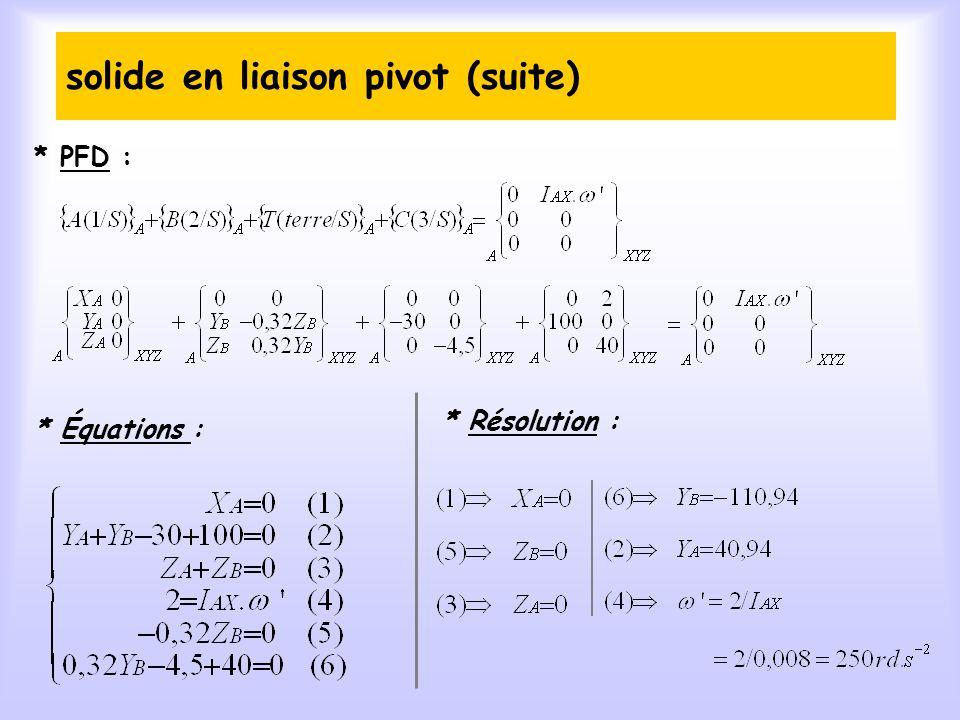 solide en liaison pivot (suite)