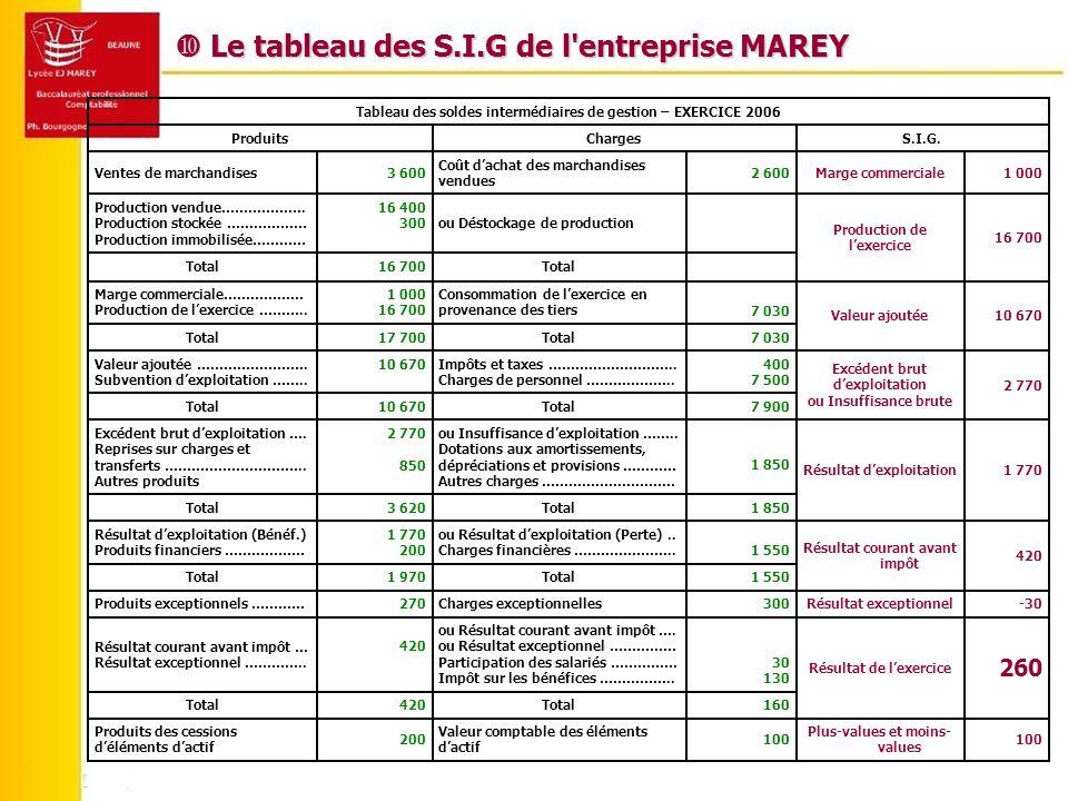  Le tableau des S.I.G de l entreprise MAREY