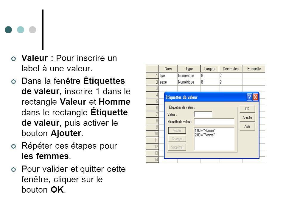 Valeur : Pour inscrire un label à une valeur.
